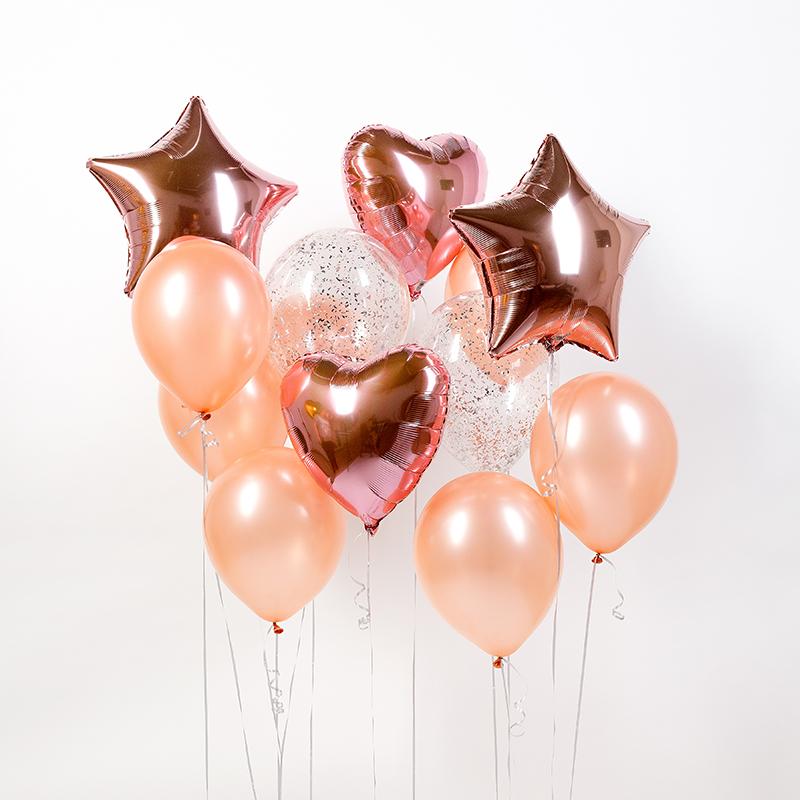 Фонтан из гелиевых шаров Розовый стиль