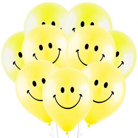 Облако из 15 шаров Смайл желтый 30 см