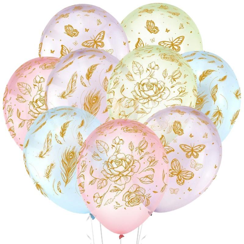 Облако из 15 шаров Цветы и бабочки 30 см