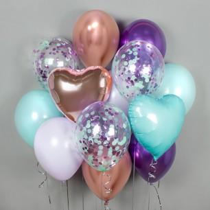 Фиолет и бирюза Фонтан из шаров