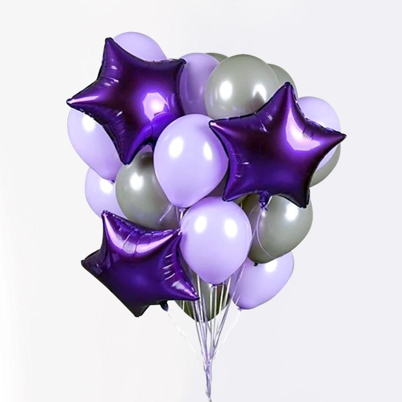 Фонтан из гелиевых шаров Фиолетовый стиль
