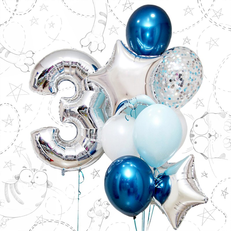 Фонтан из гелиевых шаров Синий и хром фонтан и цифра на выбор