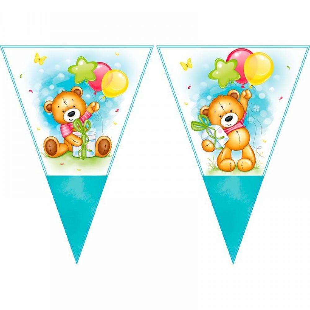 Гирлянда-вымпелы «С Днем рождения» Милый Мишка