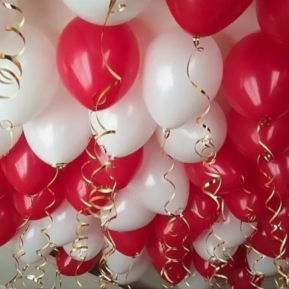 30шт Красно-белые Шарики под потолок