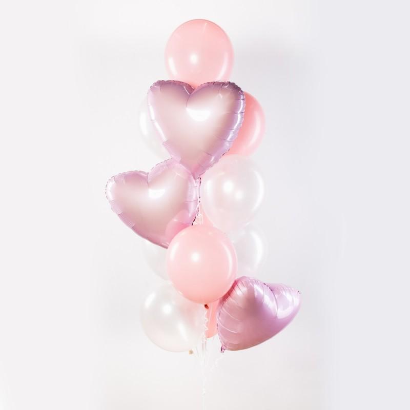 Фонтан из гелиевых шаров Нежный Розовый