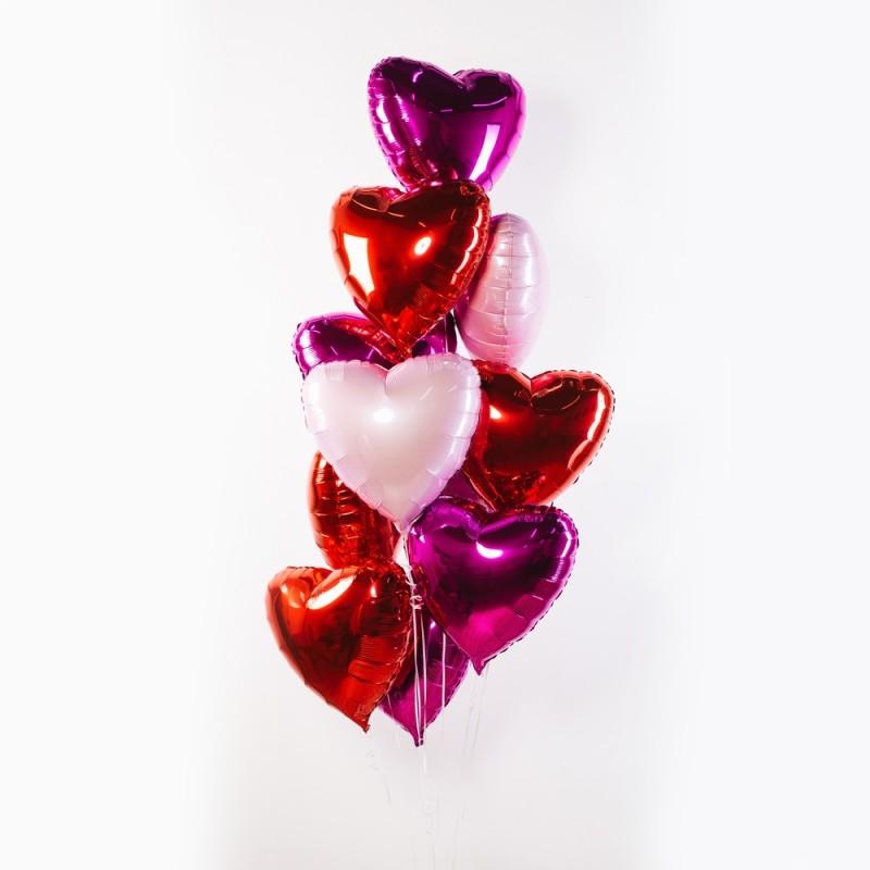 Фонтан из гелиевых шаров Разноцветные сердца