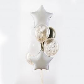 Белый с золотом Фонтан из шаров