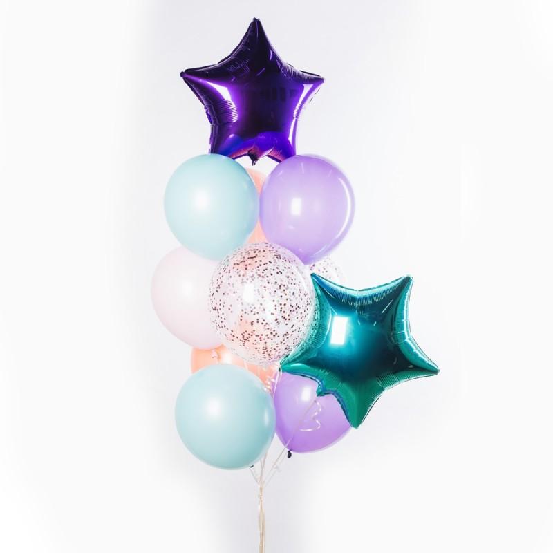 Фонтан из гелиевых шаров Бирюза и пурпур