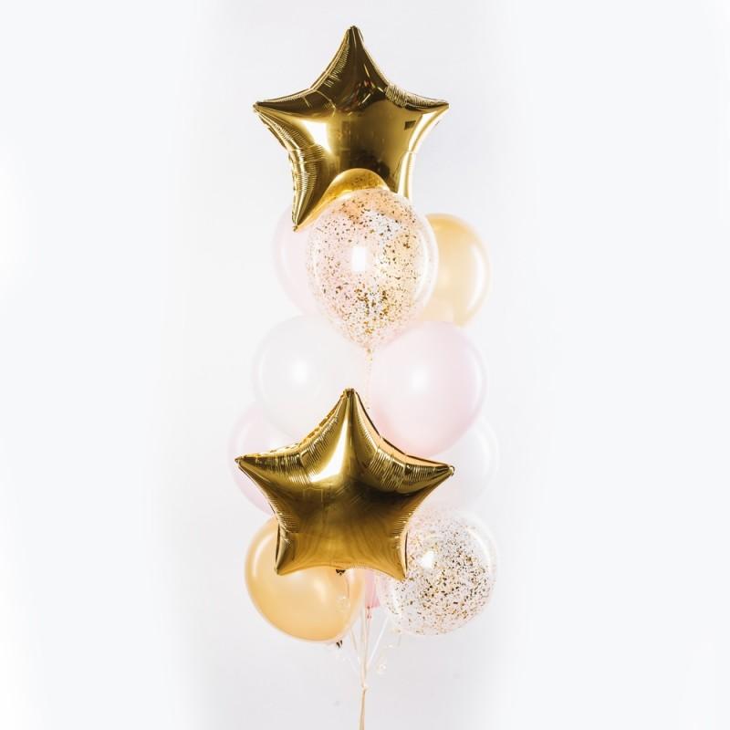 Фонтан из гелиевых шаров Золотая Звезда