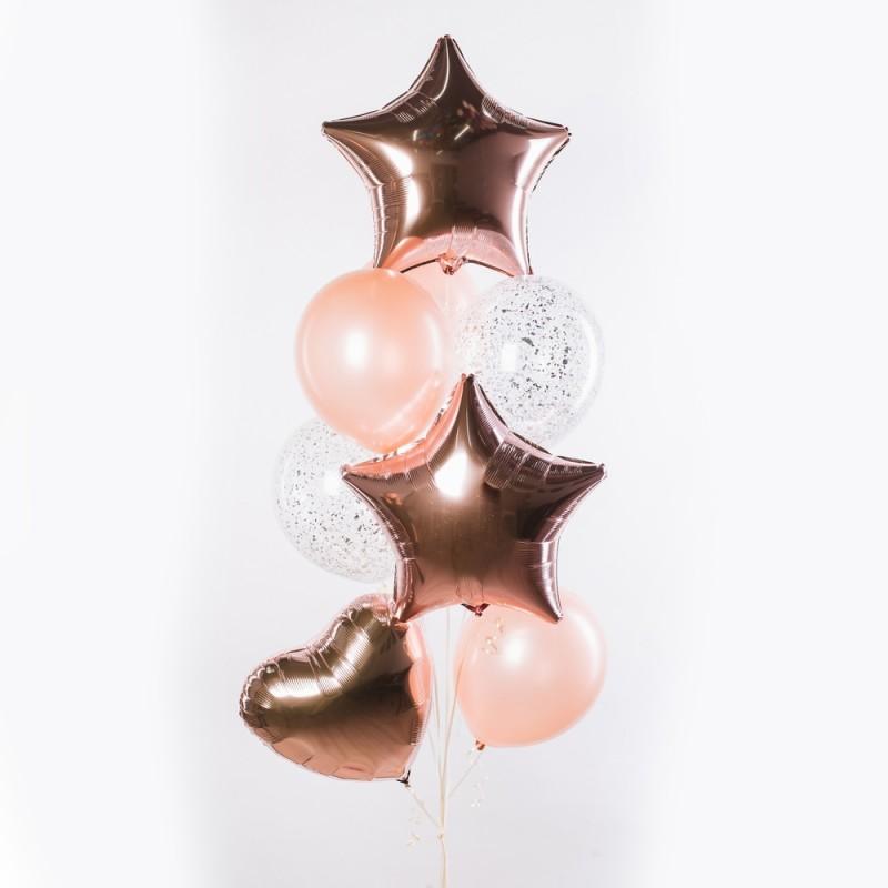 Фонтан из гелиевых шаров Розовое золото