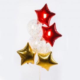 Золотые и алые звезды Фонтан из шаров