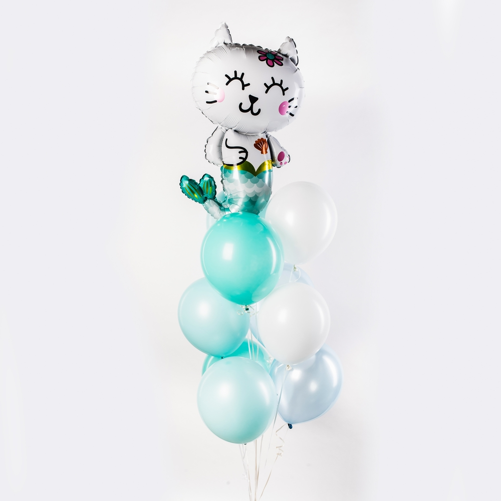 Кошка-русалка Фонтан из шаров
