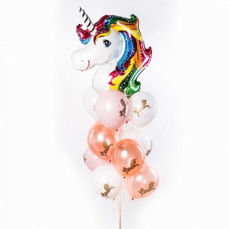 Розовый Единорог Фонтан из шаров