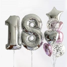 Блестящий день фонтан из шаров и цифра