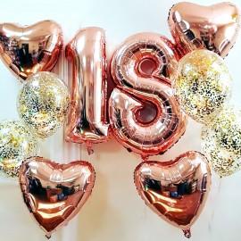 День в розовом Фонтаны из шаров и Цифры