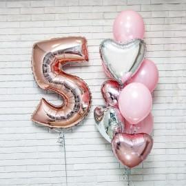 Розовый День Рождения Фонтан из шаров