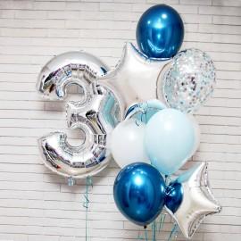 Синий и хром фонтан и цифра на выбор
