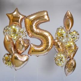 Золотое счастье Фонтаны из шаров и Цифра