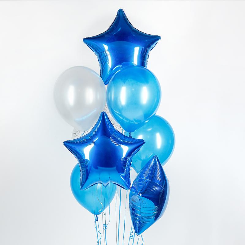 Фонтан из гелиевых шаров Синяя звезда