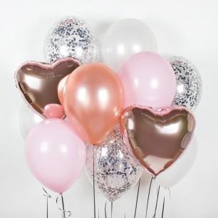Нежное сердце Фонтан из шаров