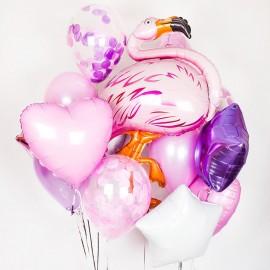 Розовый фламинго Фонтан из шаров