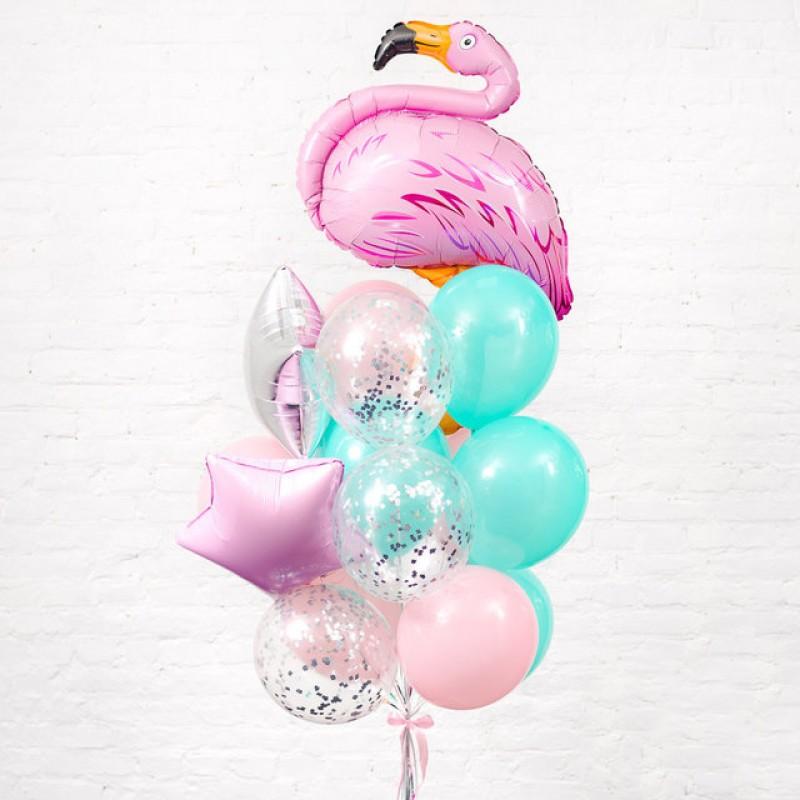 Фонтан из гелиевых шаров Фламинго на облаке