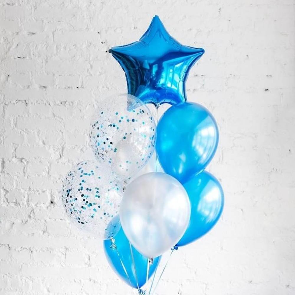 Синяя звезда Фонтан из шаров