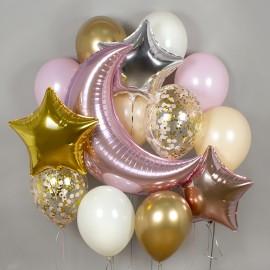 Нежный месяц Розовый Фонтан из шаров
