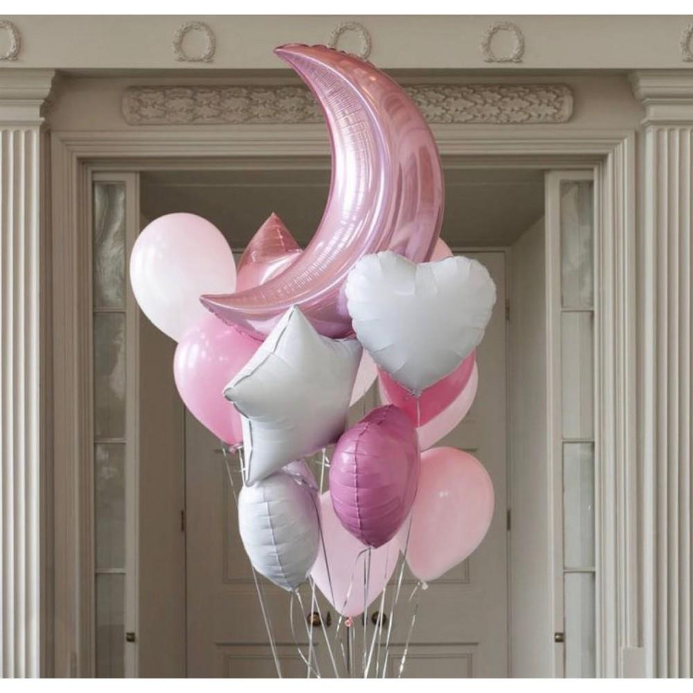 Розовая луна Фонтан из шаров