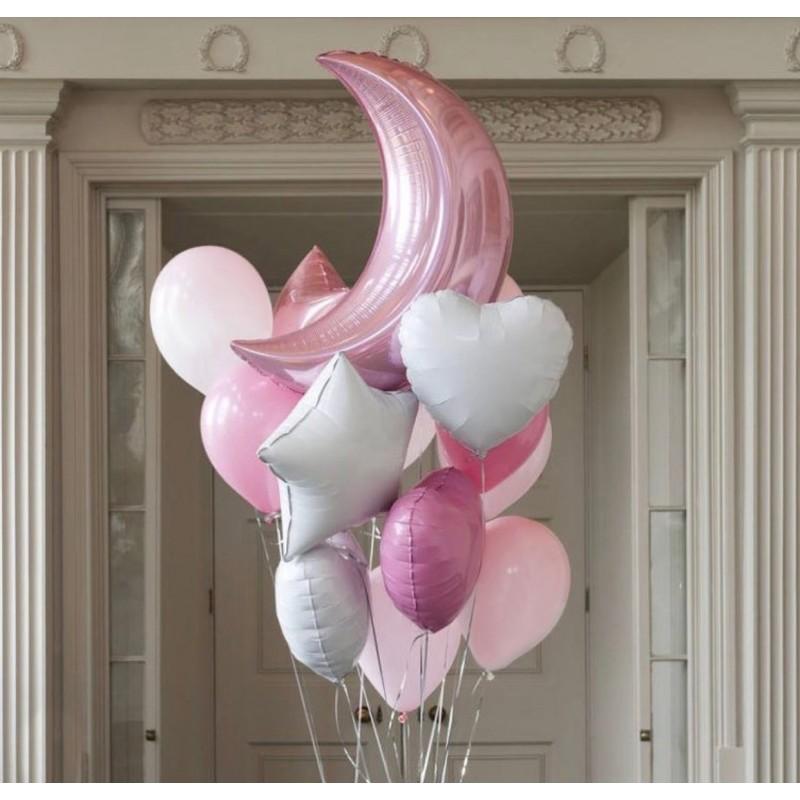 Фонтан из гелиевых шаров Розовая луна