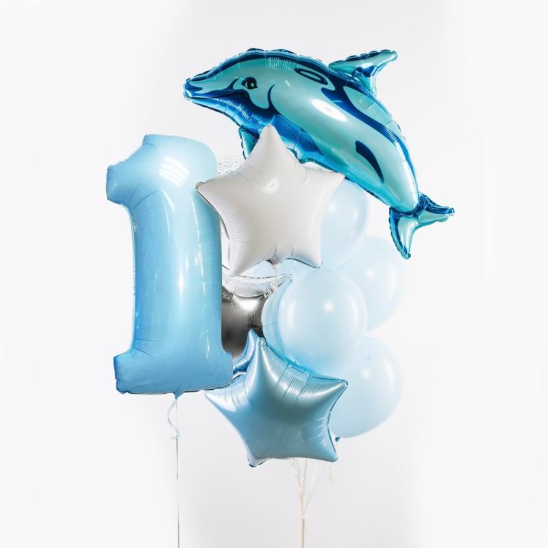 Фонтан из гелиевых шаров Морской Цифра и фонтан