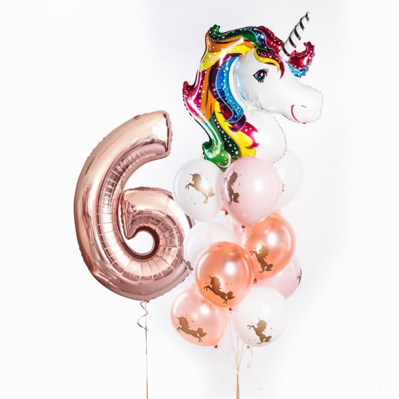 Фонтан из гелиевых шаров Розовый Единорог цифра и фонтан
