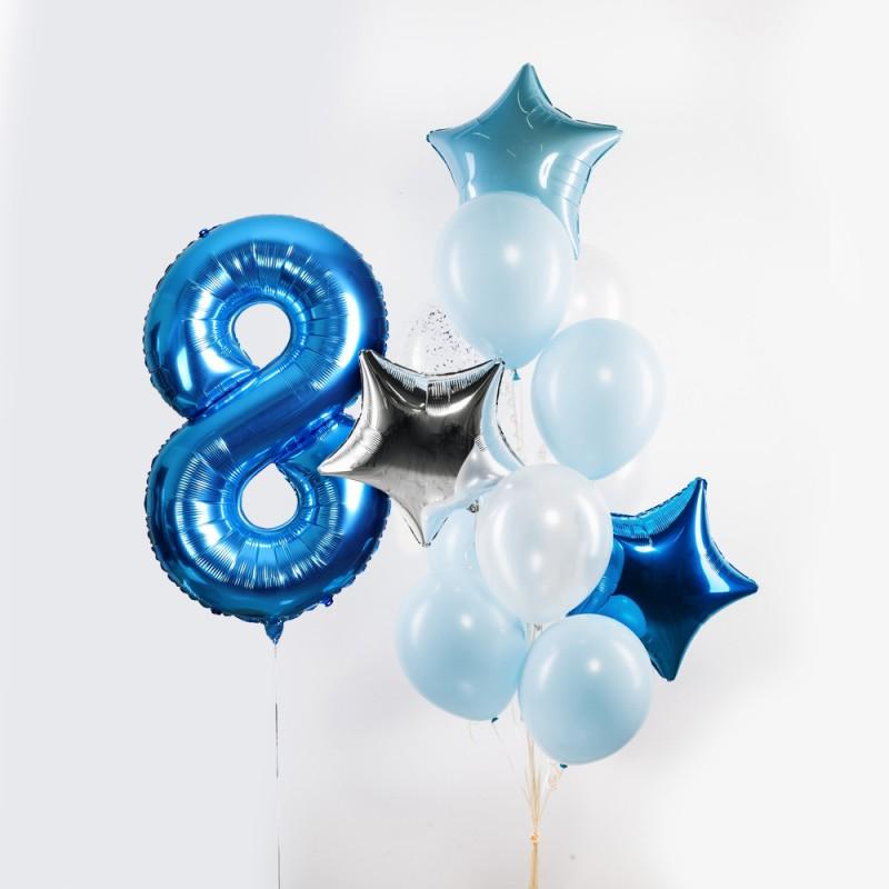 Фонтан из гелиевых шаров Голубая лагуна Цифра и Фонтан