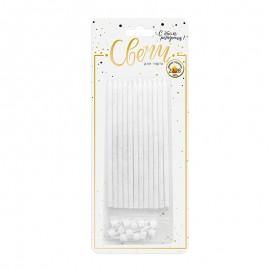 Свечи классические XL серебряный глиттер 12 шт