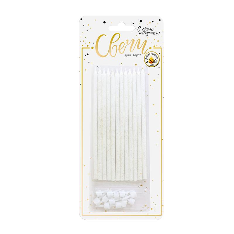 Свечи классические XL золотой глиттер 12 шт