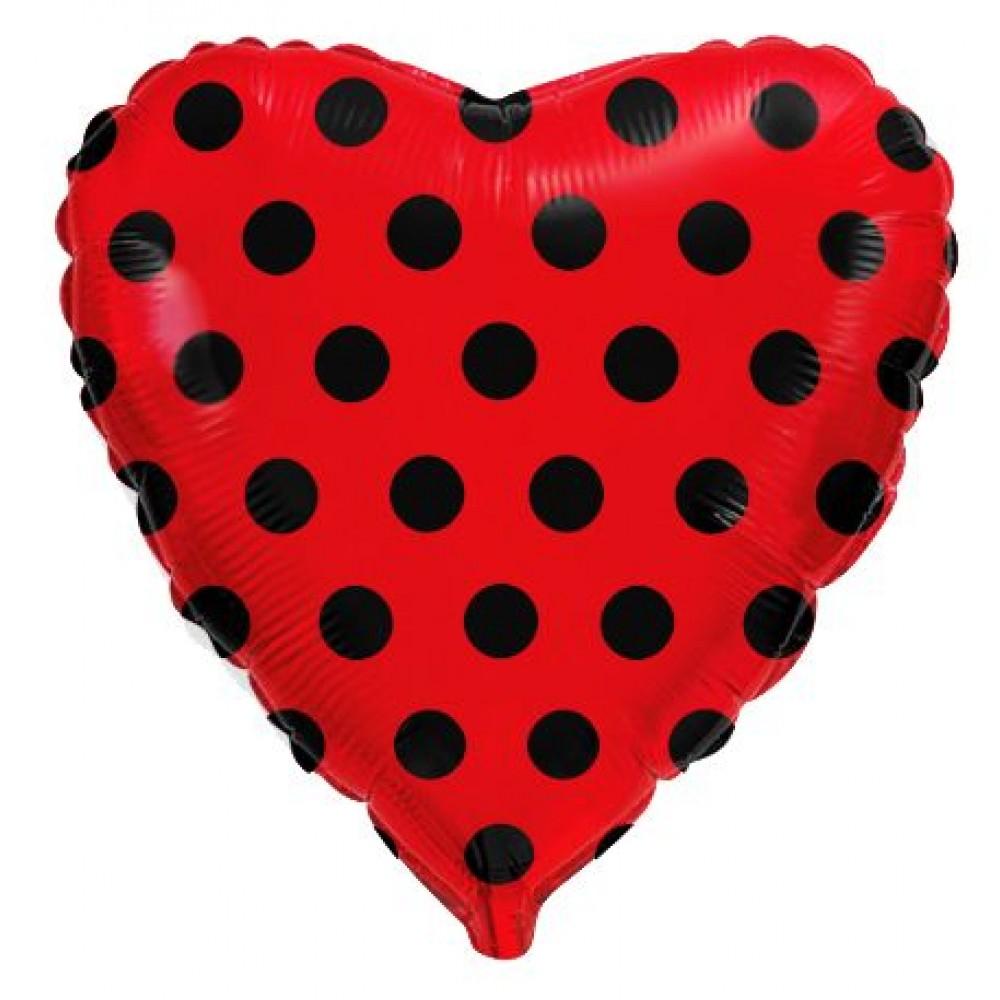 Чёрный горох на красном Шар сердце 46см