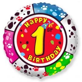 Цифра 1 С Днем рождения Шар круг 46см