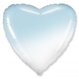 Шар Сердце Бело-Голубой градиент 46 см