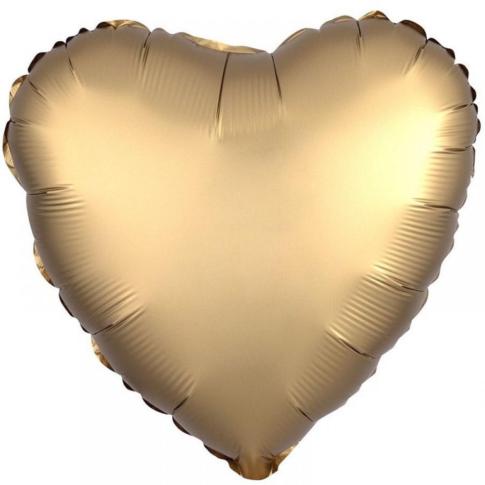 Шар Сердце Золото Сатин 46 см