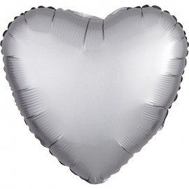 Шар Сердце Платина Сатин 46 см