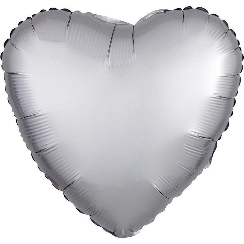 Сердце Платина Сатин 46 см