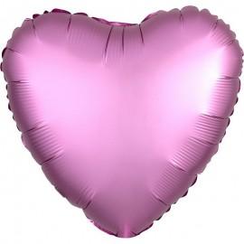 Шар Сердце Розовый Сатин 46 см
