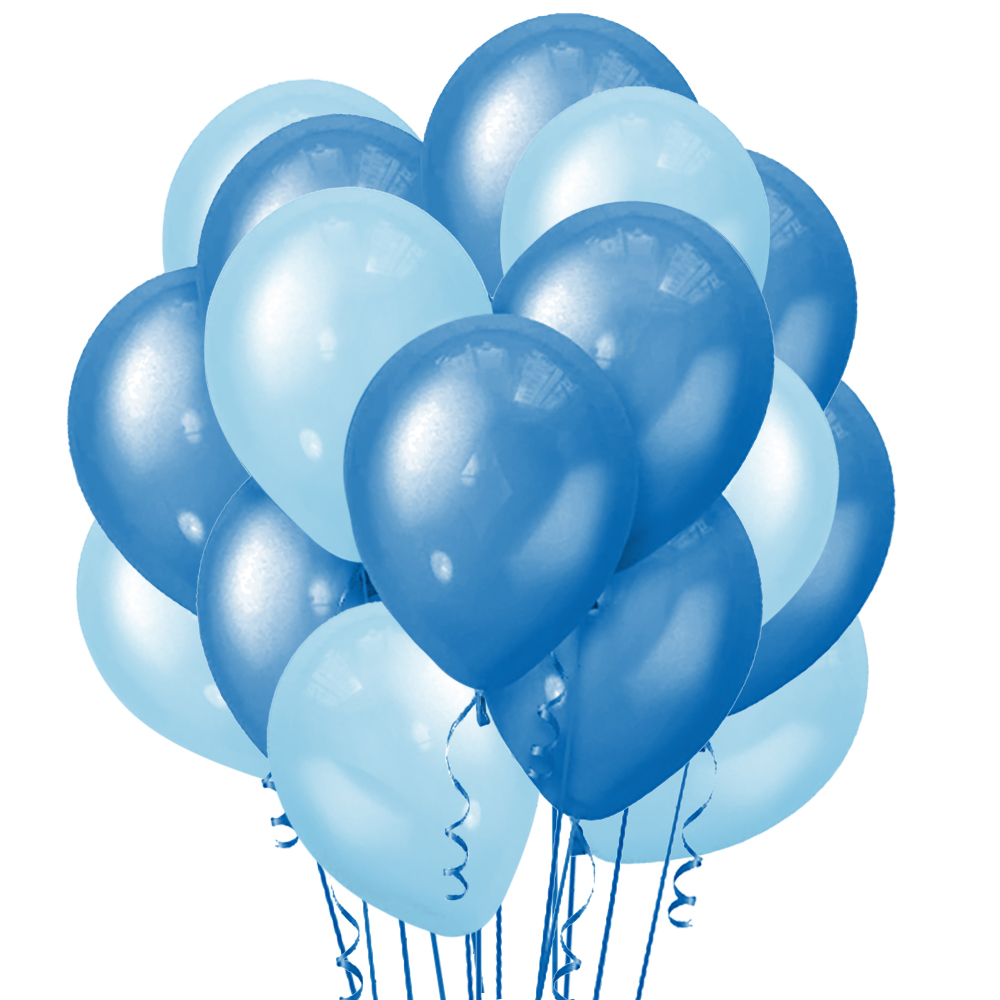 Облако из 15 шаров 30 см Металлик Blue (142) и Пастель Светло-голубой (138)