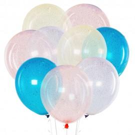 Облако из 15 шаров 30 см Кристаллы с конфетти