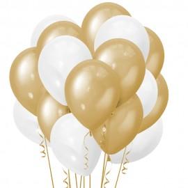 Облако из 15 шаров 30 см Металлик Gold (110) и Перламутр White (107)