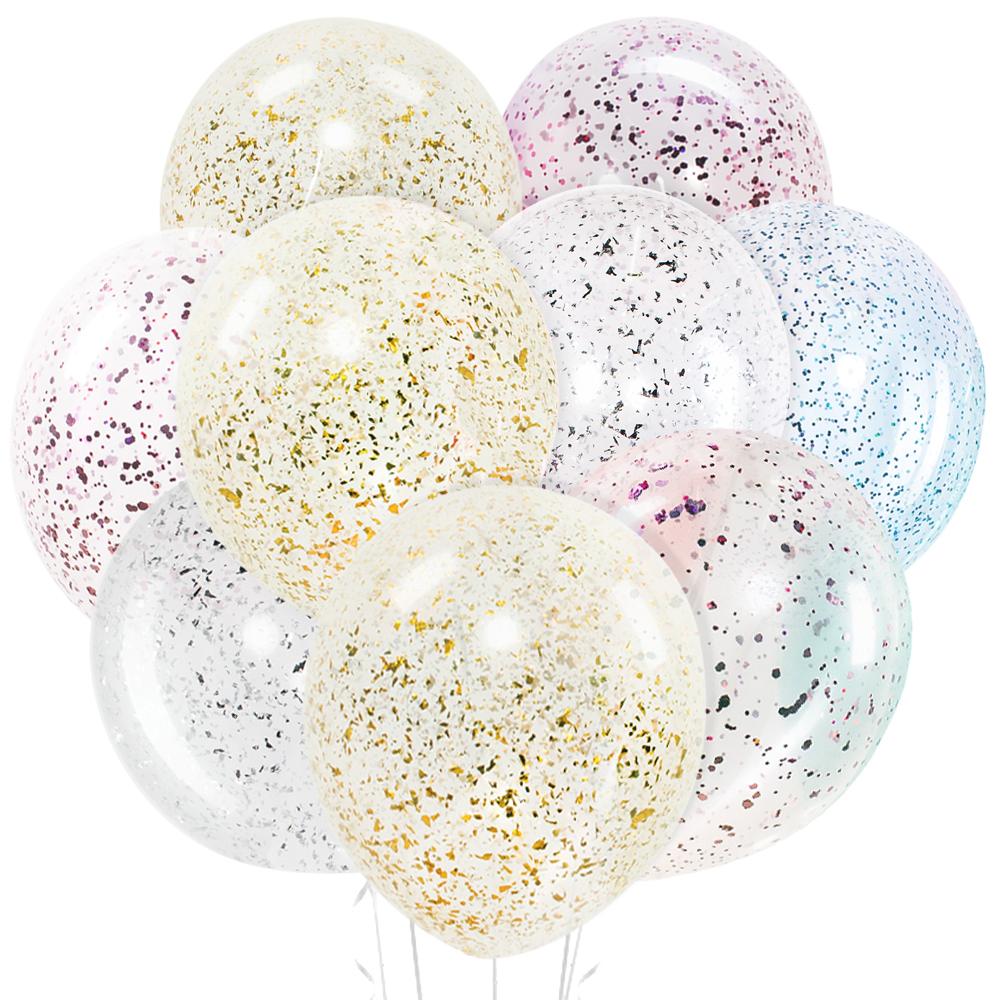Облако из 9 шаров 30 см Прозрачные с конфетти