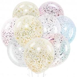 Облако из 15 шаров 30 см Прозрачные с конфетти