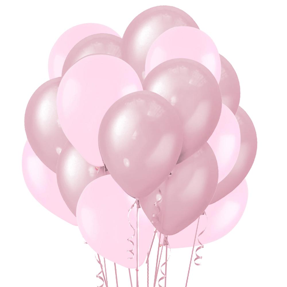 Облако из 15 шаров 30 см Перламутр Pink (120) и Матовый Светло-розовый (119)