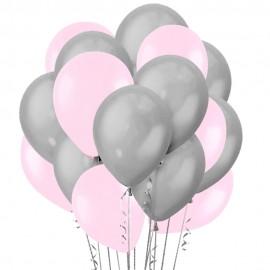 Облако из 15 шаров 30 см Матовый Светло-розовый (119) и Серый