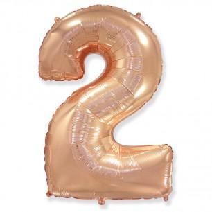 Цифра 2 Розовое золото